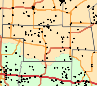 Ecological drainage unit locality map for Audrain County, Missouri