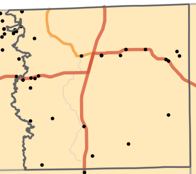 Ecological drainage unit locality map for Schuyler County, Missouri