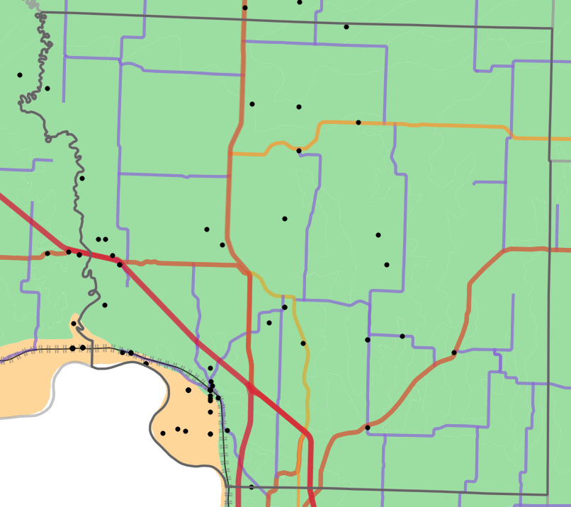 Geology locality map for Andrew County, Missouri
