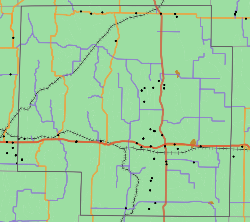 Geology locality map for Macon County, Missouri