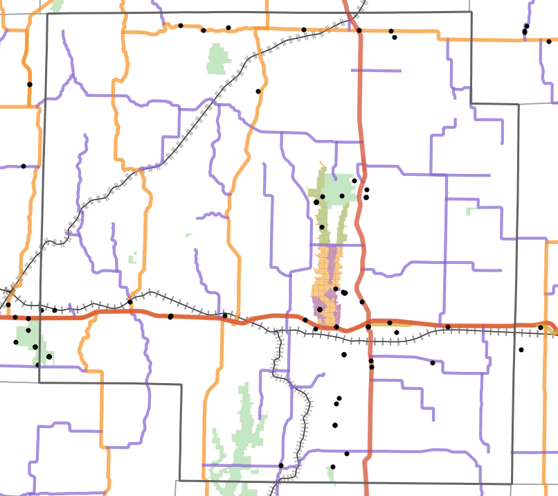 Landmark locality map for Macon County, Missouri