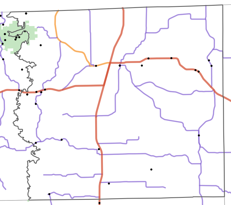 Landmark locality map for Schuyler County, Missouri