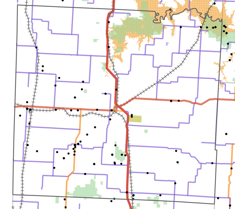Landmark locality map for Vernon County, Missouri