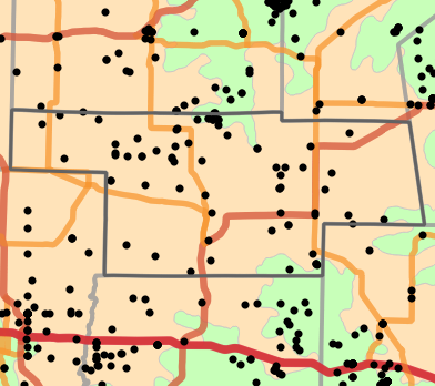 Level I Ecoregion locality map for Audrain County, Missouri
