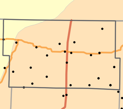 Level III Ecoregion locality map for Worth County, Missouri