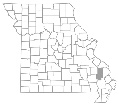 Locator map for Bollinger County, Missouri