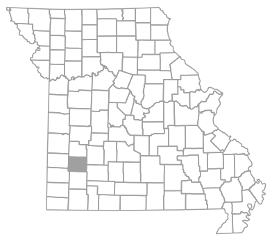 Locator map for Dade County, Missouri