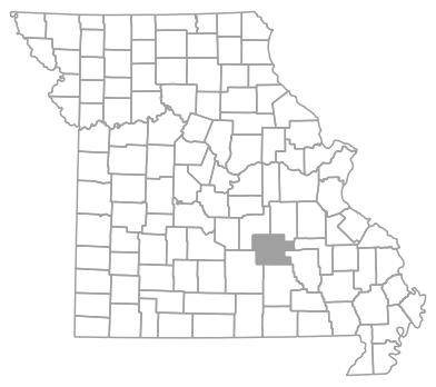 Locator map for Dent County, Missouri
