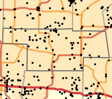 Natural divisions and sections locality map for Audrain County, Missouri