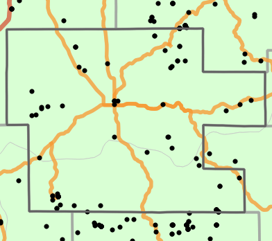 Natural divisions and sections locality map for Dent County, Missouri
