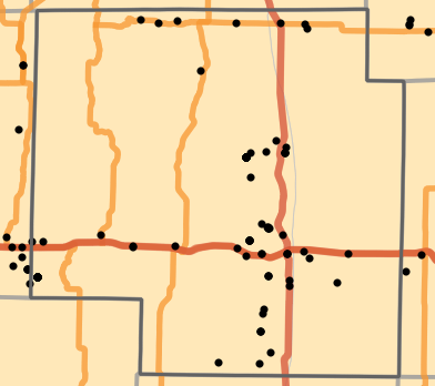 Natural divisions and sections locality map for Macon County, Missouri