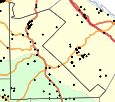 Natural divisions and sections locality map for Saint Francois County, Missouri