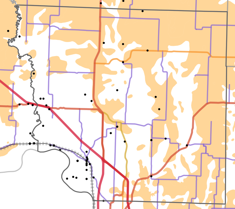 Presettlement prairie locality map for Andrew County, Missouri