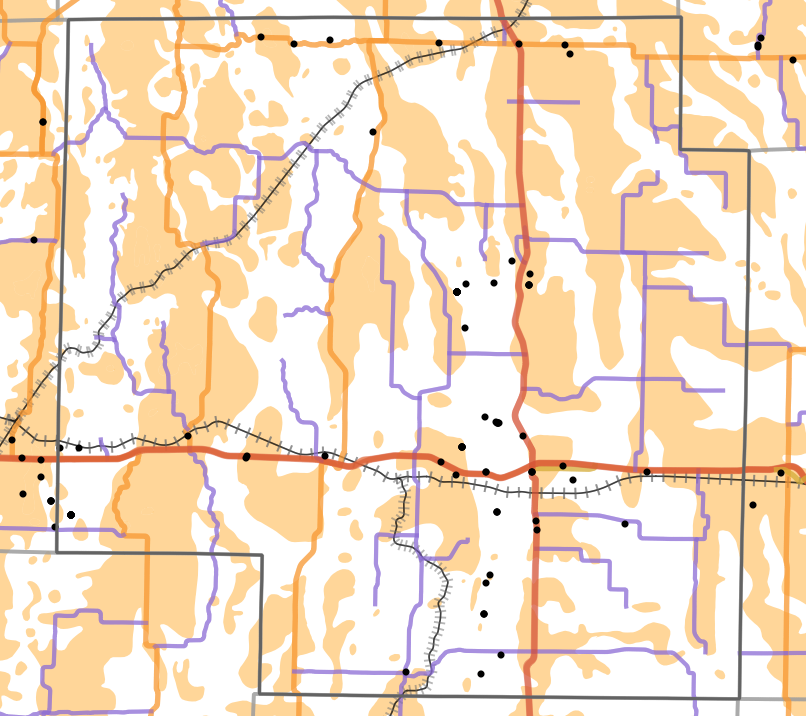 Presettlement prairie locality map for Macon County, Missouri