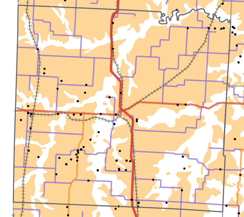 Presettlement prairie locality map for Vernon County, Missouri