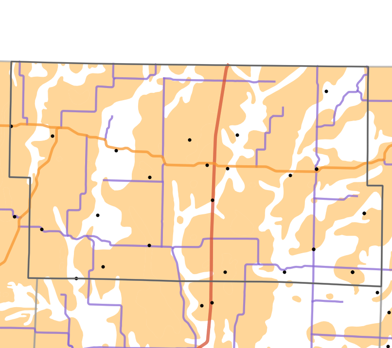Presettlement prairie locality map for Worth County, Missouri