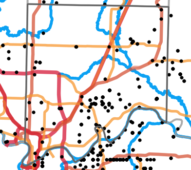 Major rivers locality map for Clay County, Missouri