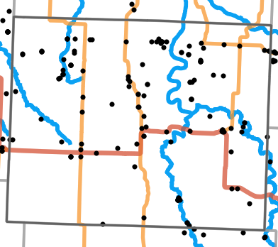 Major rivers locality map for Dade County, Missouri