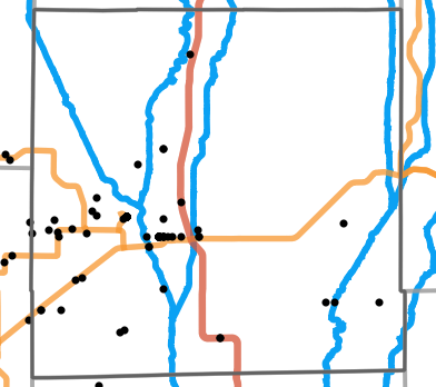 Major rivers locality map for Grundy County, Missouri
