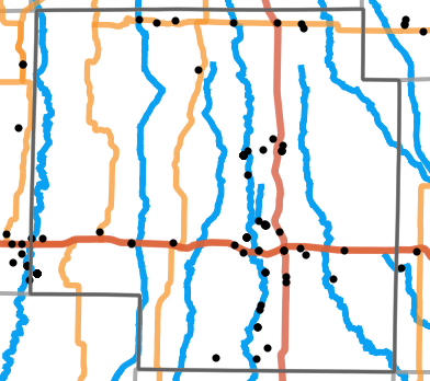 Major rivers locality map for Macon County, Missouri