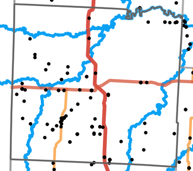 Major rivers locality map for Vernon County, Missouri