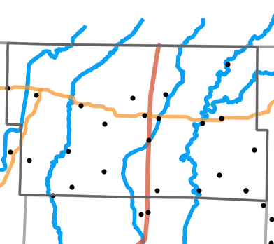 Major rivers locality map for Worth County, Missouri
