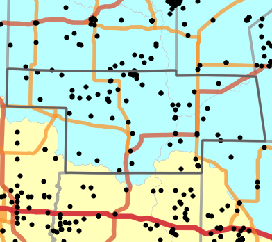 Major watersheds locality map for Audrain County, Missouri