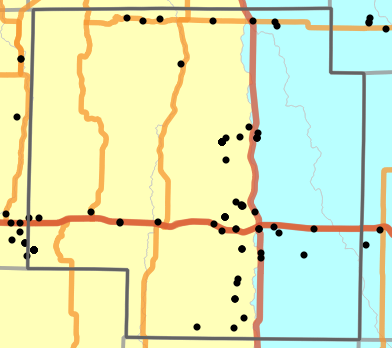 Major watersheds locality map for Macon County, Missouri