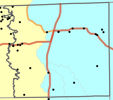Major watersheds locality map for Schuyler County, Missouri