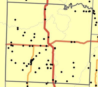 Major watersheds locality map for Vernon County, Missouri