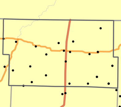 Major watersheds locality map for Worth County, Missouri