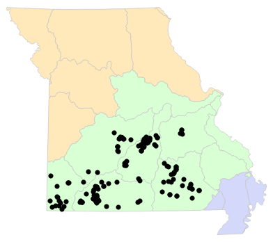 Ecological Drainage Units map for Eurycea spelaea (Grotto Salamander)