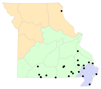 Ecological Drainage Units map for Macrochelys temminckii (Alligator Snapping Turtle)