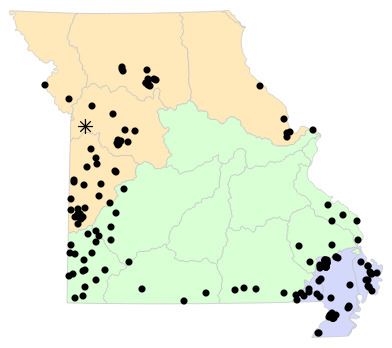 Ecological Drainage Units map for Nerodia erythrogaster (Plain-bellied Watersnake)