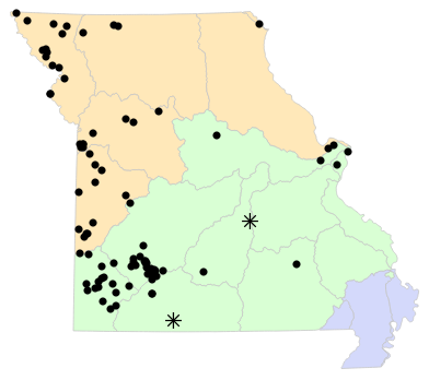 Ecological Drainage Units map for Pituophis catenifer (Bullsnake)