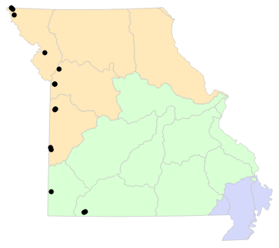 Ecological Drainage Units map for Plestiodon obsoletus (Great Plains Skink)
