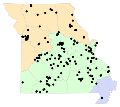 Ecological Drainage Units map for Virginia valeriae (Western Smooth Earthsnake)