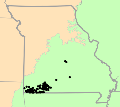 Level I Ecoregions map for Eurycea tynerensis (Oklahoma Salamander)