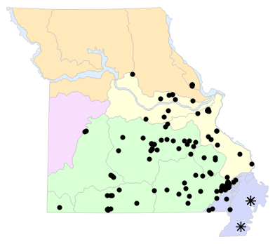 Natural Divisions locality map for Ambystoma opacum (Marbled Salamander)