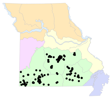 Natural Divisions locality map for Eurycea spelaea (Grotto Salamander)