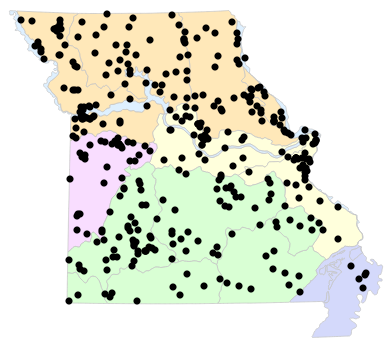 Natural Divisions locality map for Lampropeltis calligaster (Prairie Kingsnake)