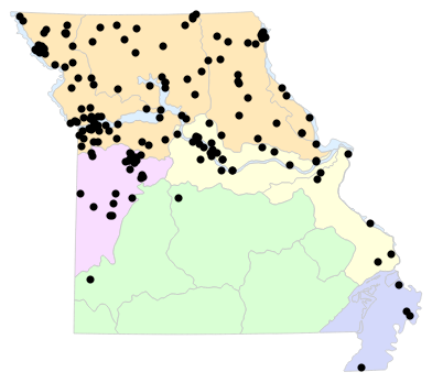 Natural Divisions locality map for Lithobates blairi (Plains Leopard Frog)