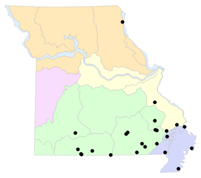 Natural Divisions locality map for Macrochelys temminckii (Alligator Snapping Turtle)