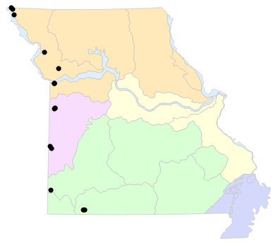 Natural Divisions locality map for Plestiodon obsoletus (Great Plains Skink)