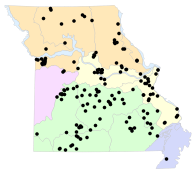 Natural Divisions locality map for Virginia valeriae (Western Smooth Earthsnake)