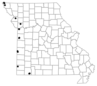 Locality map for Plestiodon obsoletus (Great Plains Skink)