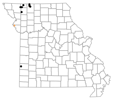 Historical locality map for Plestiodon septentrionalis (Prairie Skink)