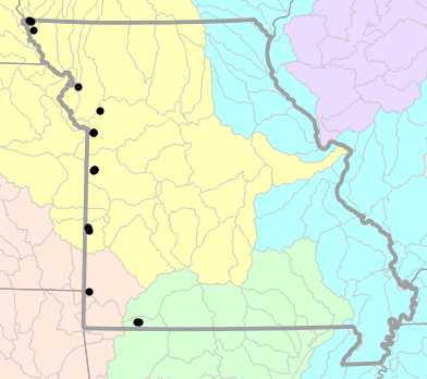Major watersheds map for Plestiodon obsoletus (Great Plains Skink)