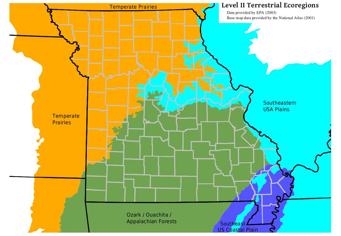MOHAP Missouri Level II Ecoregion Map - Labelled map of us