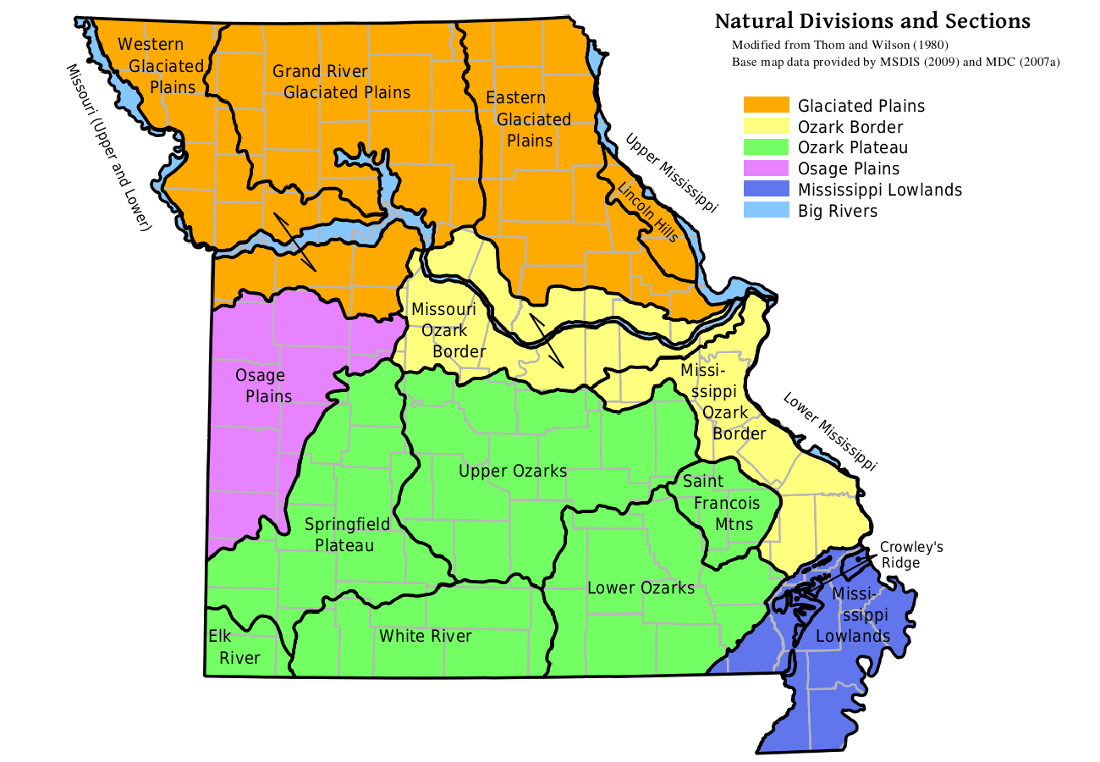 MOHAP Missouri Natural Divisions and Sections Map